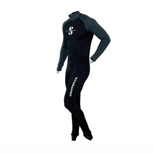 Stylish skin protection increases comfort during warm water dives and surface fun. UPF 50 rating blocks 98% of UV radiation. Made from high quality nylon fabric. Comfortable full body protection for diving, snorkeling or swimming. Form-fitting for that sleek hydrodynamic look and feel. YKK back zipper increases comfort when worn alone or under a suit. High neck decreases chafing from other gear. Foot stirrups and thumb loops offer easy donning. Highly versatile – ideal for divers, snorkelers, paddle boarders, swimmers and other water enthusiasts too.